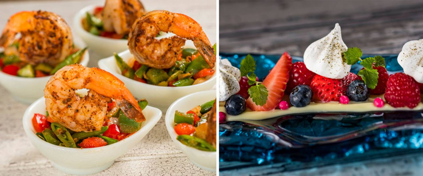 Australia - Grilled Sweet and Spicy Bush Berry Shrimp; Deconstructed Pavlova