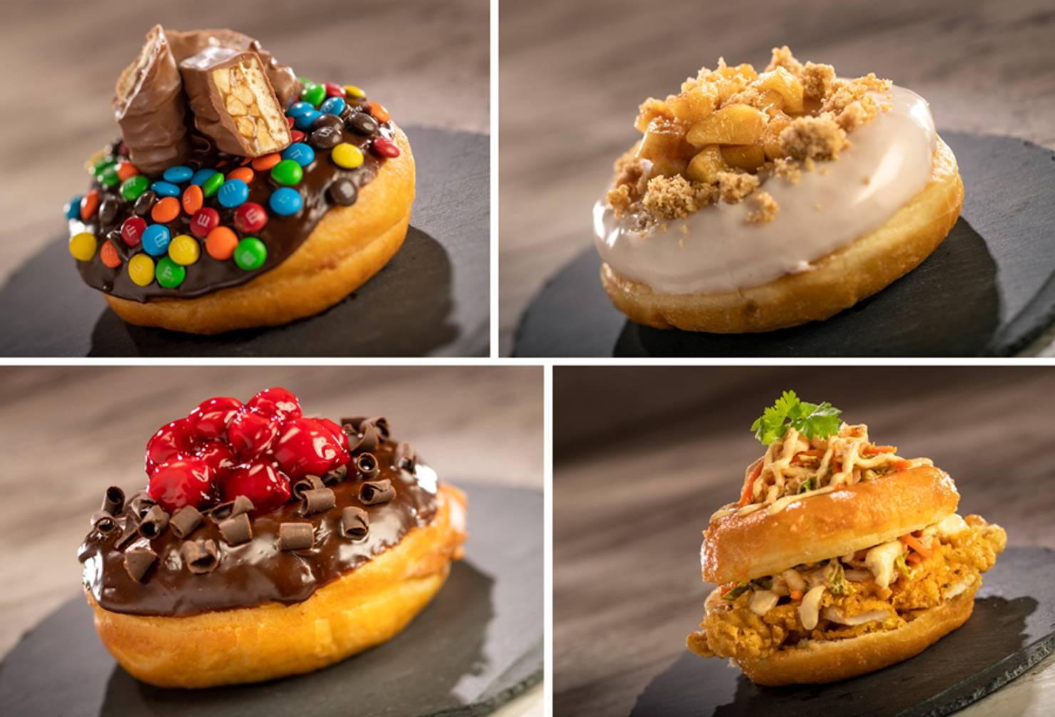 The Donut Box - Candy Jar Donut, Sriracha-glazed Donut, Chef's Donut of the Day and  Crispy Chicken on a Sriracha-glazed Donut