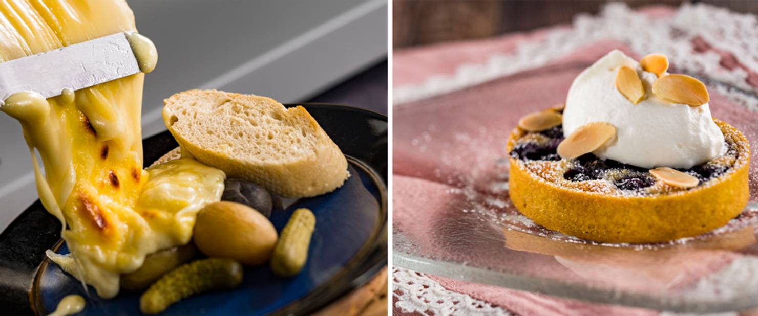 The Alps - Warm Raclette Swiss Cheese and Blueberry and Almond Frangipane Tart