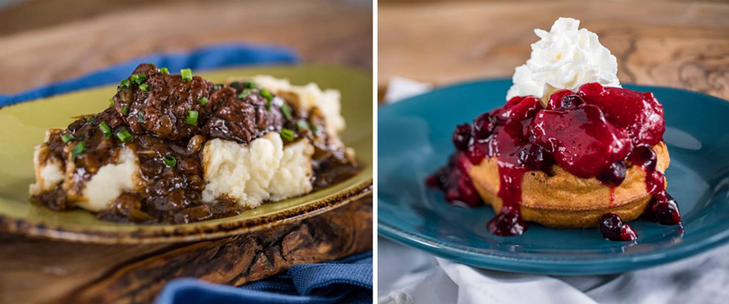 Belgium - Beer-braised Beef and Belgian Waffle with Berry Compote