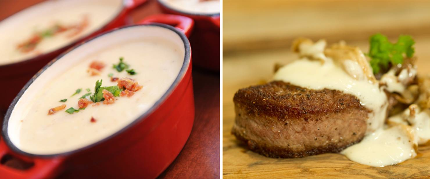 Canada - Canadian Cheddar and Bacon Soup and Le Cellier Wild Mushroom Beef Filet Mignon
