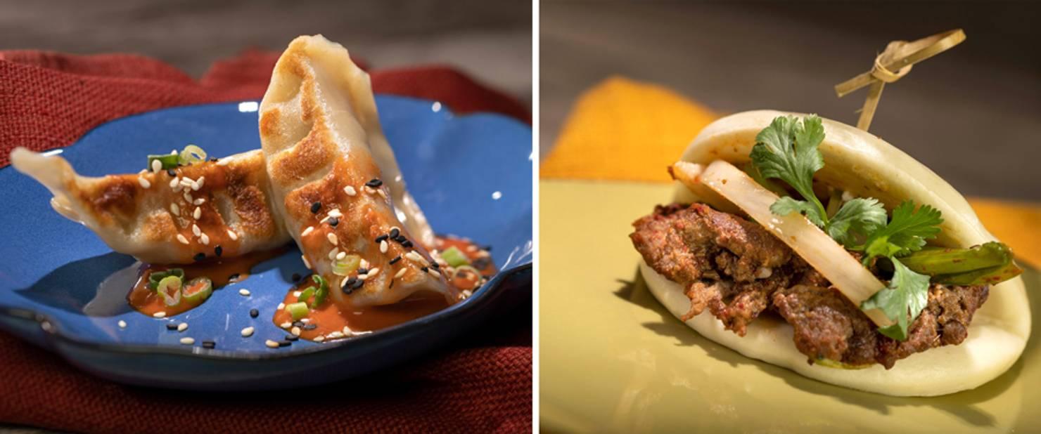 China - Pan-fried Chicken Dumplings and ZiRan Beef Bao Bun