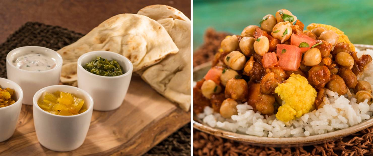 India - Warm Indian Bread and Korma Chicken with Basmati Rice