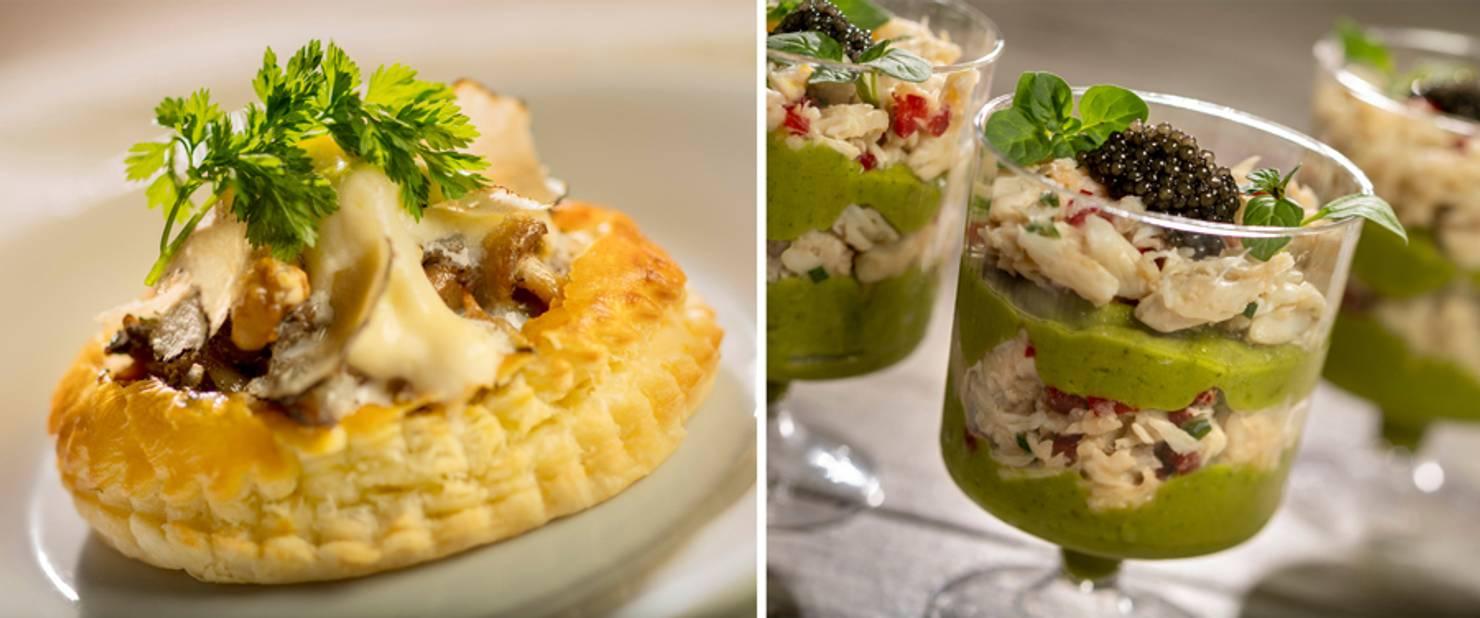 The Rotunda Bistro - Wild Mushroom Truffle Tart and Chilled Crab and Avocado Parfait