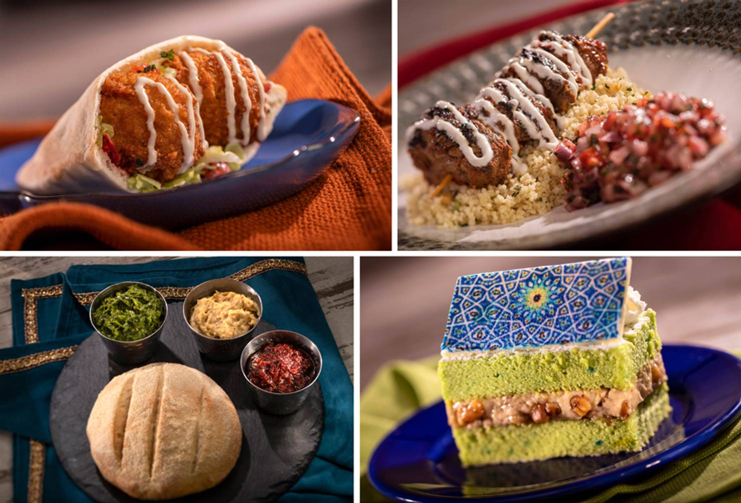 Tangierine Café - Fried Falafel Pita, Grilled Kebabs, Stone-baked Moroccan Bread with Hummus and Pistachio Cake