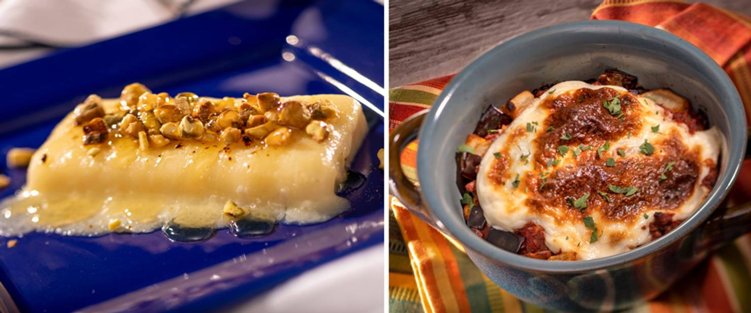 Greece - Griddled Cheese with Pistachios and Lamb Moussaka