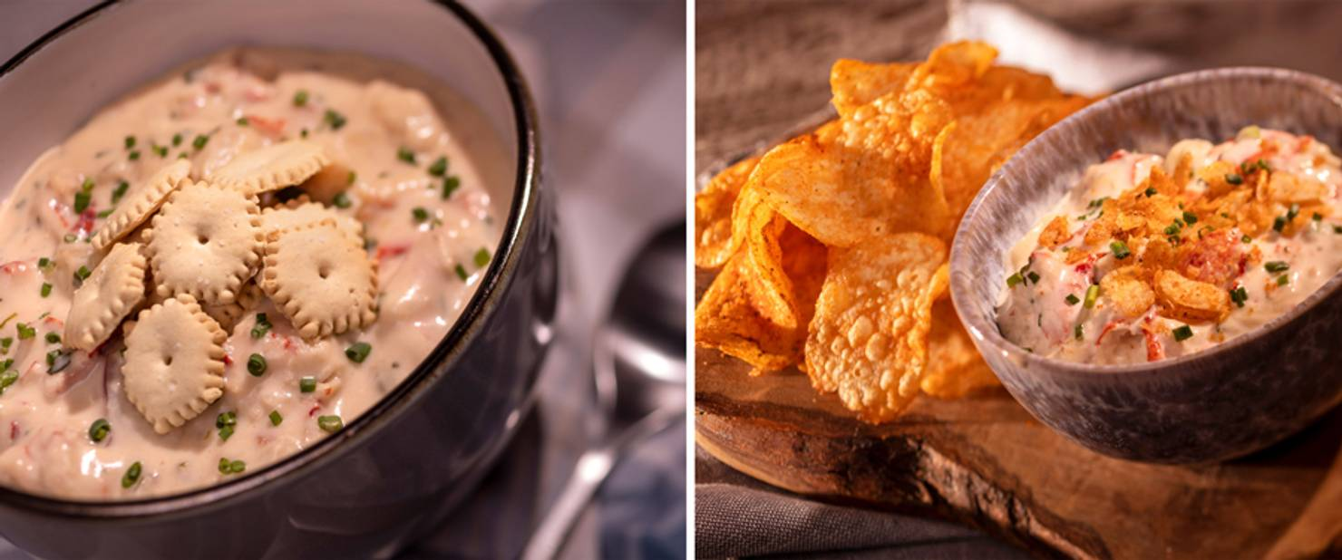 Lobster Landing - Lobster Chowder and Baked Lobster Dip with Old Bay Chips