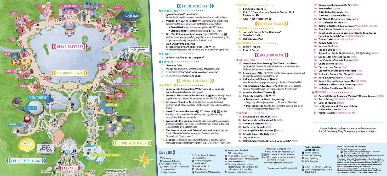 EPCOT Guide map July 2021 - Back
