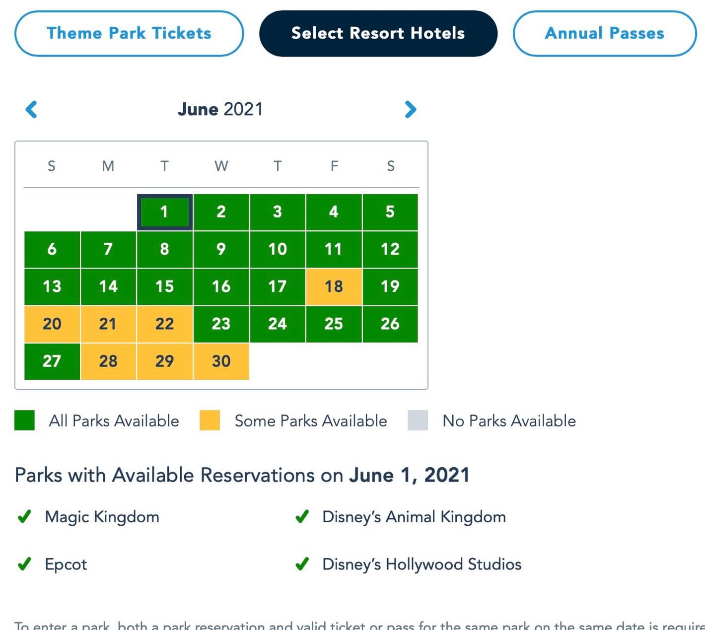 Disney Park Pass June 2021 as of May 14